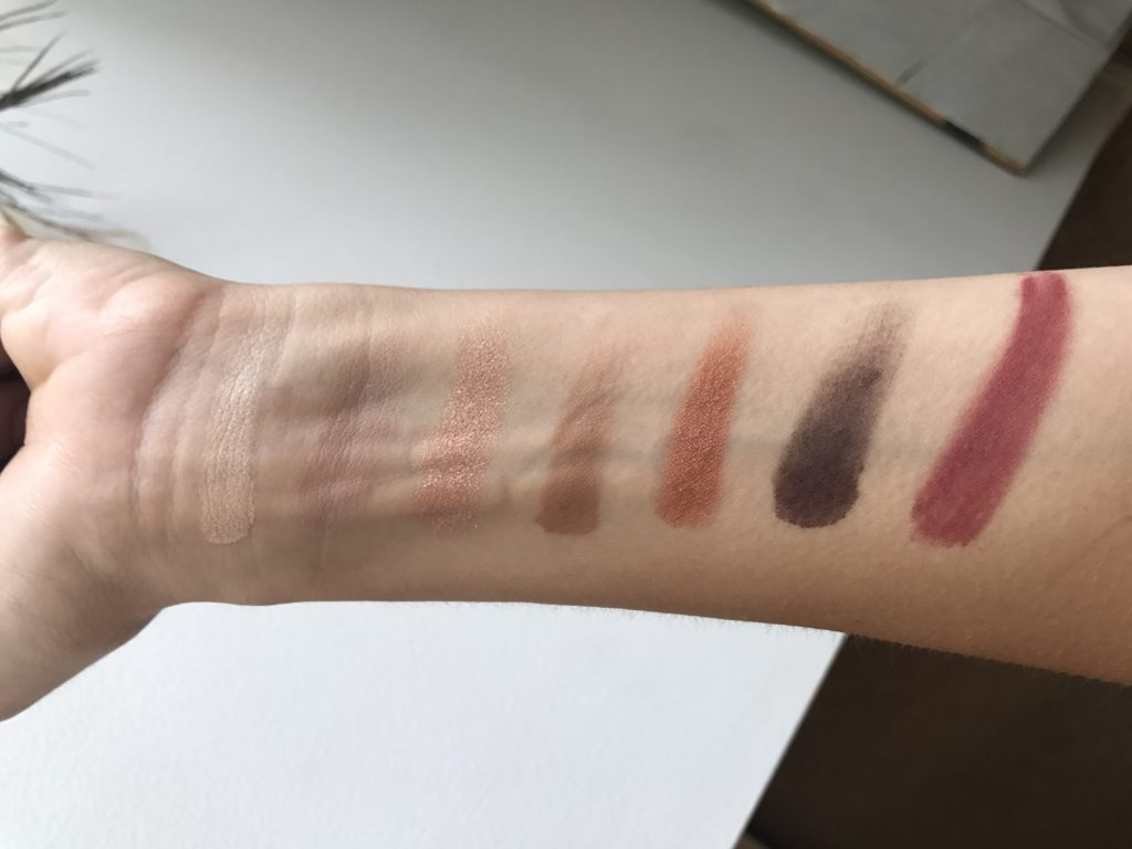 swatches of the marc jacobs eye conic eye shadow palette scandalust