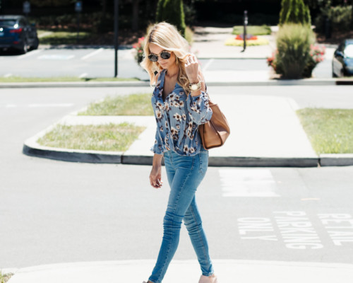 My Favorite Fall Outfit Floral Top Topshop Jeans Pink Suede Booties